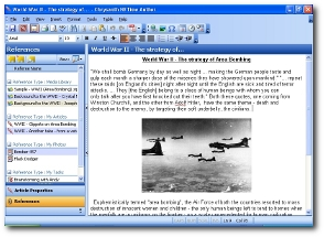 A WYSIWYG editor with spell checker, plus the ability to add important references to other idea-inspiring materials